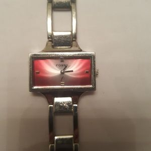 *Unique* Pink radient face Fossil silver watch